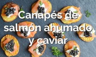 Canapés de salmón ahumado y caviar