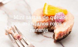Mini tartas de queso con arándanos rojos y naranja