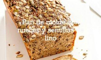 Pan de molde con nueces y semillas de lino